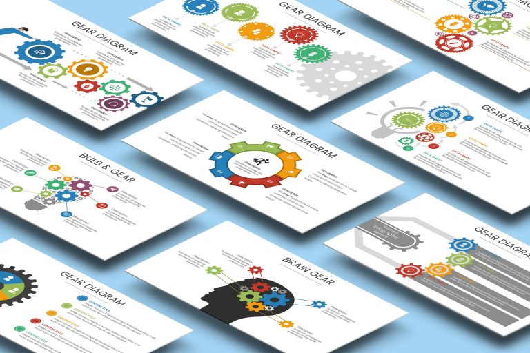 Gear Diagram Presentation Template for Powerpoint