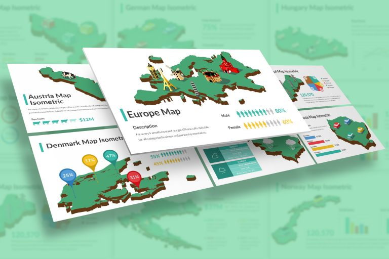Europe Maps Isometric Presentation Template