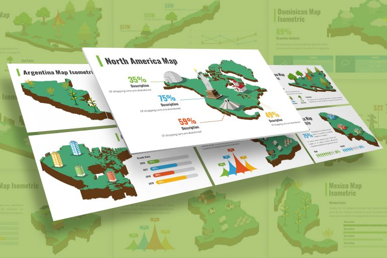 America Infographic Isometric Presentation Template