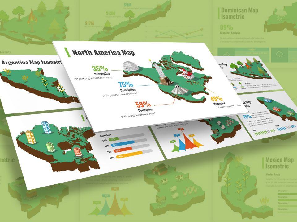 America Infographic Isometric Presentation Template